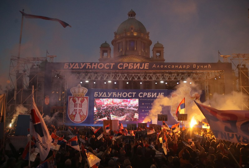 Serbian President Aleksandar Vucic's campaign rally