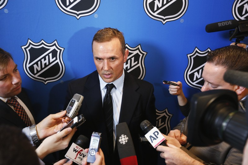 FILE PHOTO - Yzerman, general manager of Tampa Bay Lightning, speaks to media before Commissioner Bettman announces end of labor negotiations between the NHL and NHLPA in New York