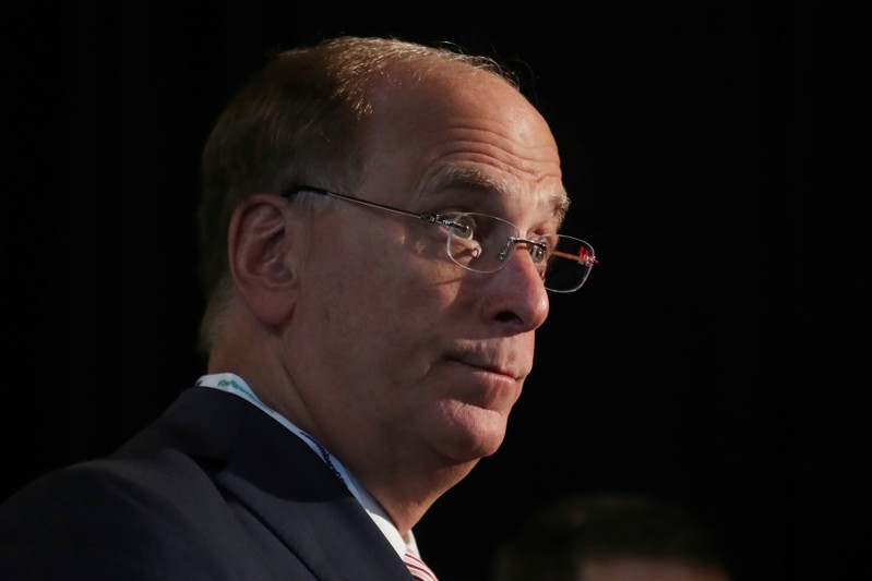 Larry Fink, Chief Executive Officer of BlackRock, stands at the Bloomberg Global Business forum in New York