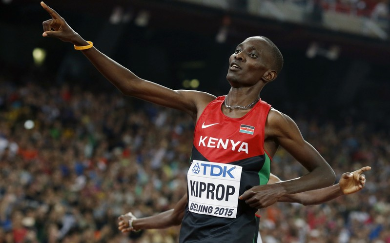 FILE PHOTO - Asbel Kiprop of Kenya reacts after winning the men's 1500 metres final during the 15th IAAF World Championships at the National Stadium in Beijing