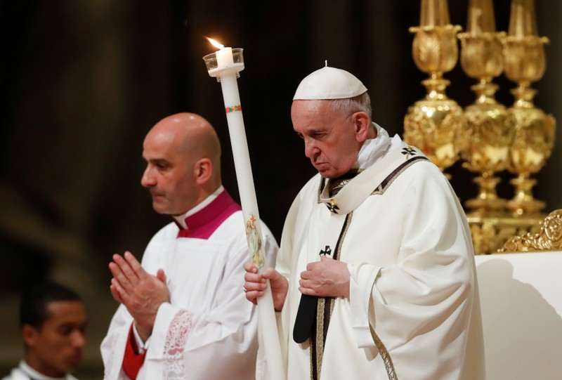 Easter vigil Mass in Saint Peter's Basilica at the Vatican