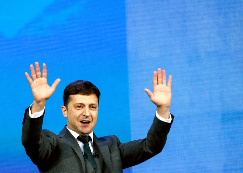 Ukraine's presidential candidates Petro Poroshenko and Volodymyr Zelenskiy attend a debate in Kiev
