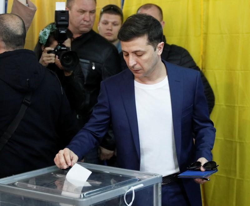 Candidate Zelenskiy visits a polling station during Ukraine's presidential election in Kiev