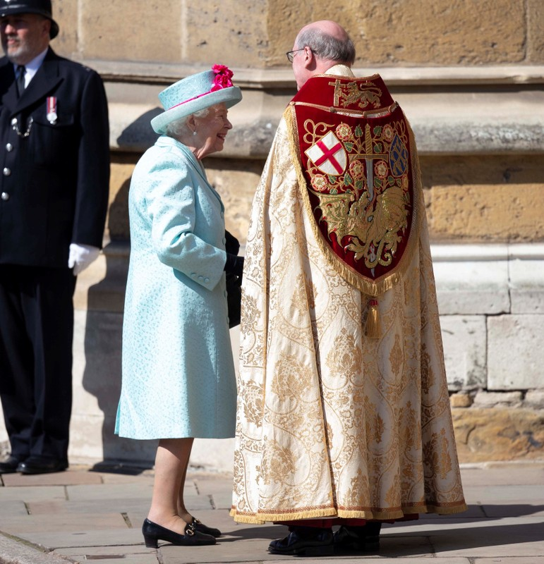 Britain's Queen Elizabeth arrives at the Easter Mattins Service at St. George's Chapel in Windsor