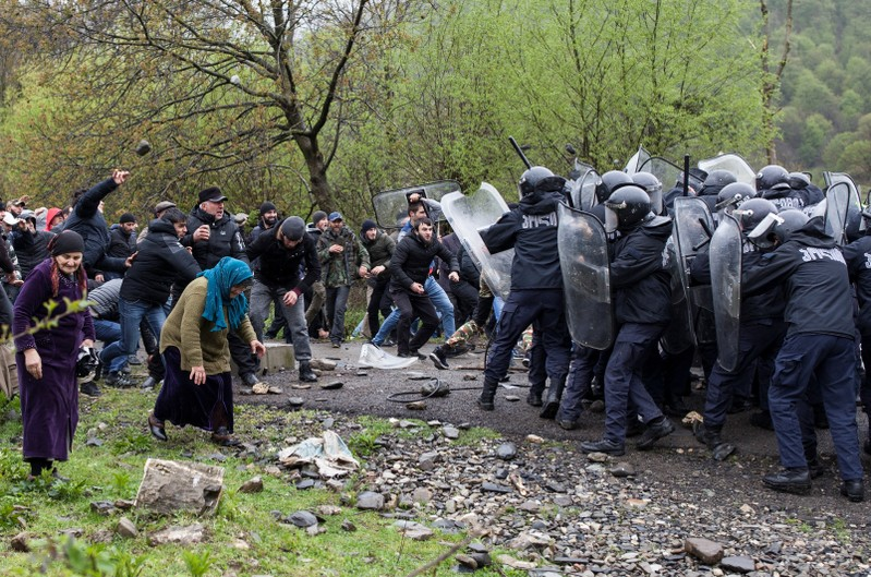 People protest against the construction of a hydropower plant near Birkiani