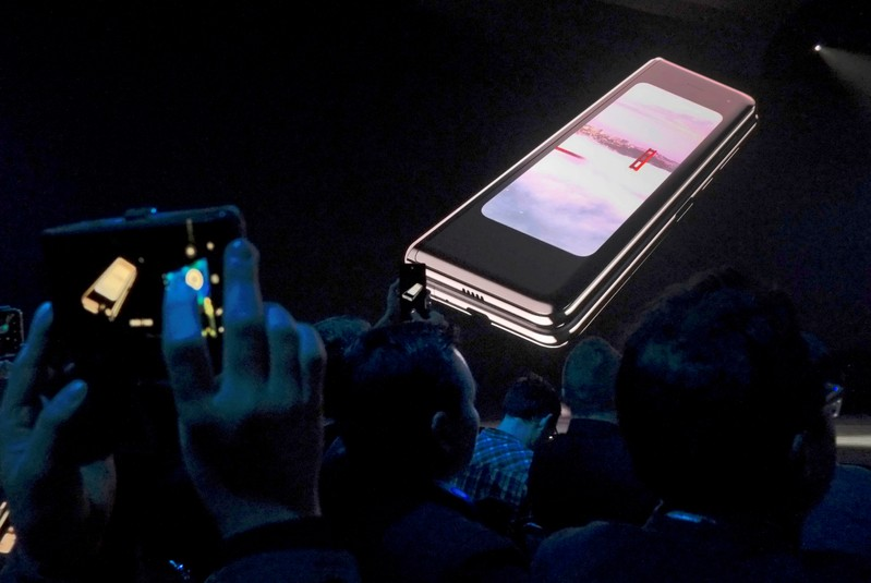 FILE PHOTO: The Samsung Galaxy Fold phone is shown on a screen at Samsung Electronics' Unpacked event in San Francisco