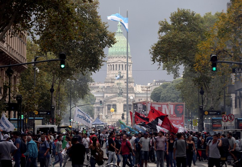 Argentine unions, small firms and activists gather outside Argentina's Congress to demand changes in President Mauricio Macri's economic policies, in Buenos Aires