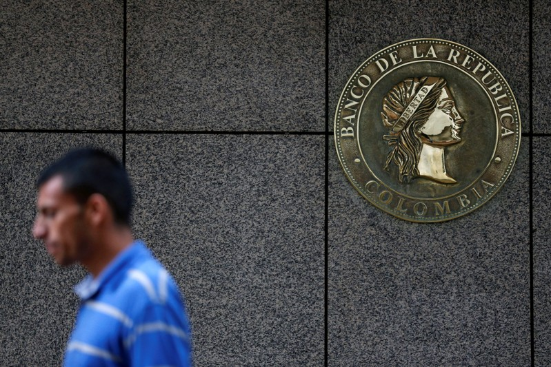 The Colombia's central bank logo is seen in Bogota
