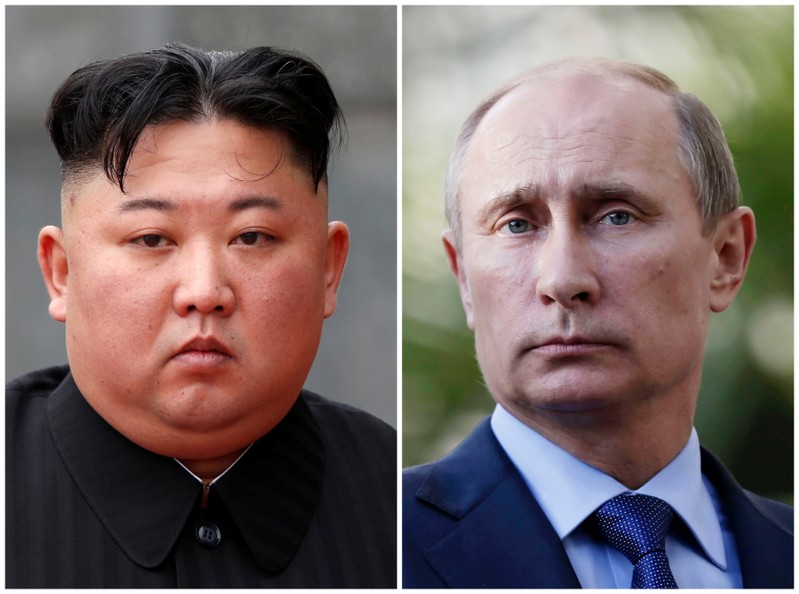 A combination of file photos North Korean leader Kim Jong Un and Russia's President Vladimir Putin