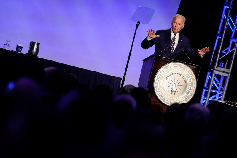 Former Vice President Biden speaks at the International Brotherhood of Electrical Workers' (IBEW) conference in Washington