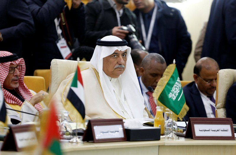 FILE PHOTO: Saudi Arabia's Foreign Minister Ibrahim al-Assaf attends a preparatory meeting between Arab foreign ministers ahead of the Arab summit in Tunis