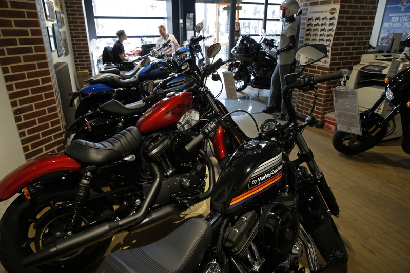 The logo of U.S. motorcycle company Harley Davidson is seen on one of their models at a shop in Paris