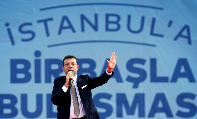 FILE PHOTO: Mayor of Istanbul Imamoglu of the main opposition CHP addresses his supporters during a rally in Istanbul