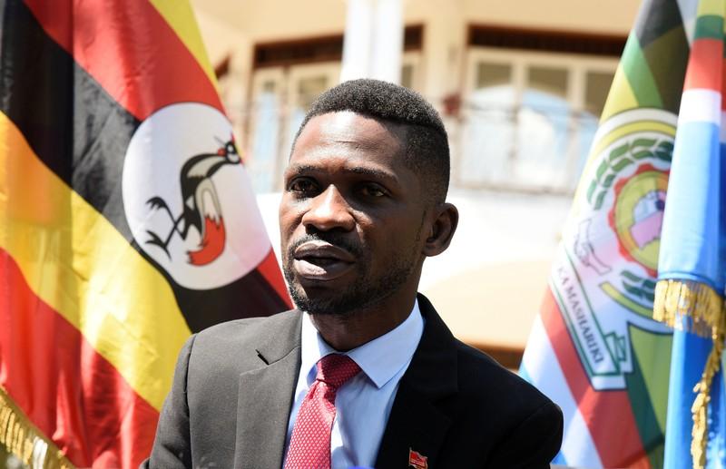 Ugandan musician turned politician, Robert Kyagulanyi also known as Bobi Wine addresses a news conference at his home in Kampala