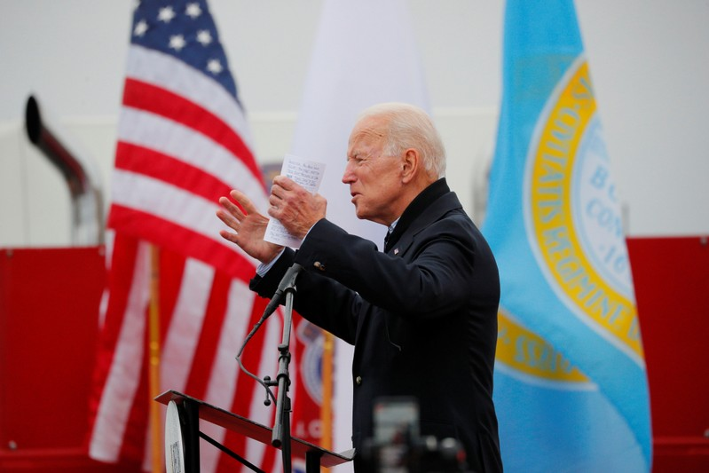 Former U.S. Vice President Joe Biden speaks at a rally with striking Stop & Shop workers in Boston