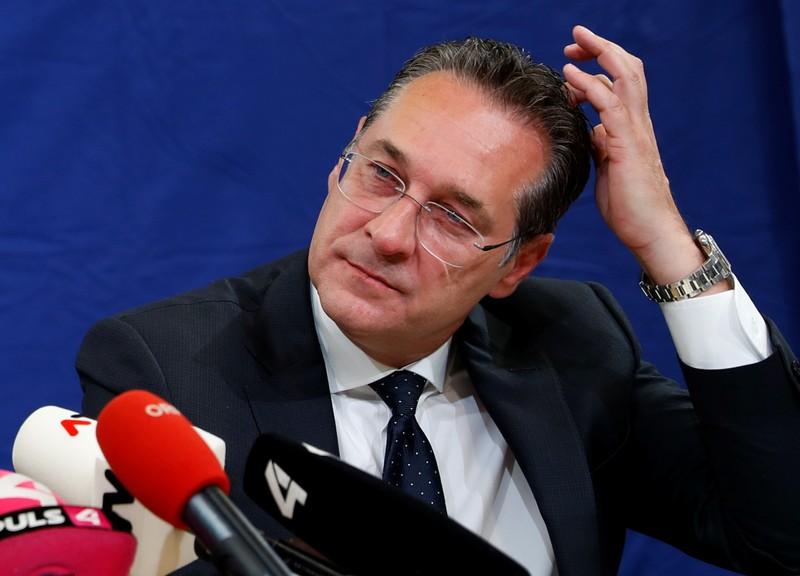Austria's Vice Chancellor Strache addresses the media in Vienna