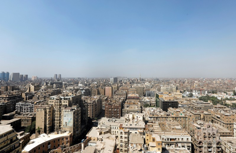 A general view of banks, hotels, office and residential buildings in the center of Cairo