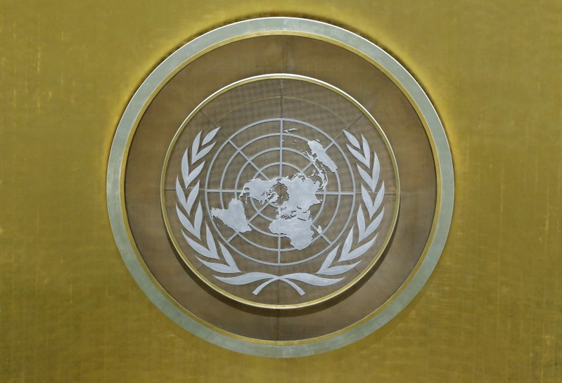 The United Nations logo is seen in the U.N. General Assembly hall at U.N. headquarters in New York