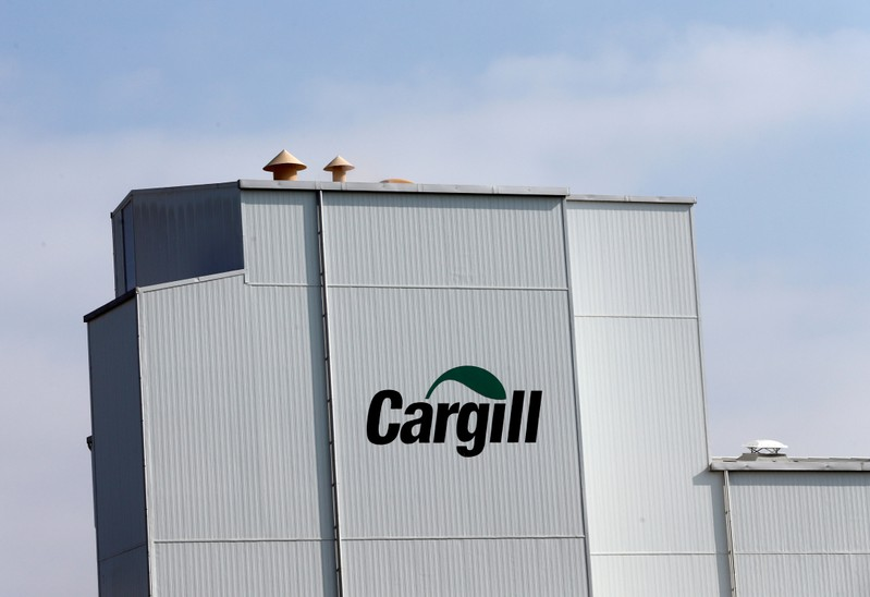 A Cargill logo is pictured on the Provimi Kliba and Protector animal nutrition factory in Lucens