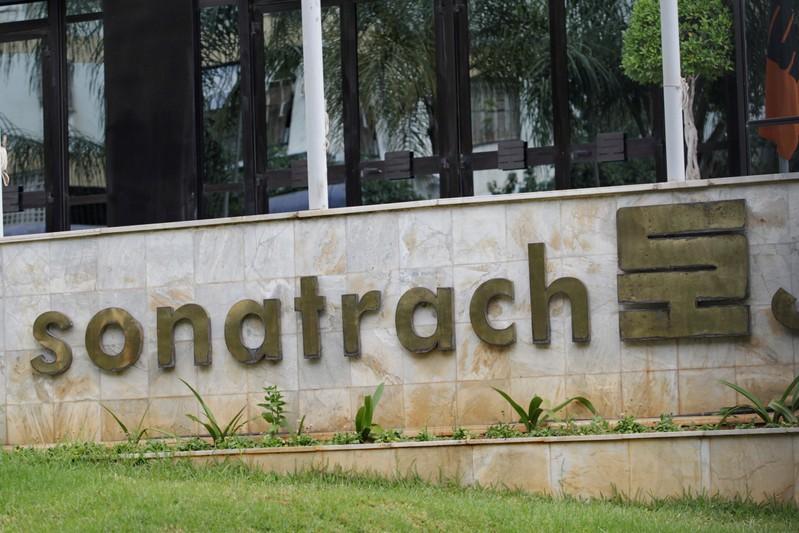 FILE PHOTO: Algerian state energy company Sonatrach's logo at its headquarters in Algiers