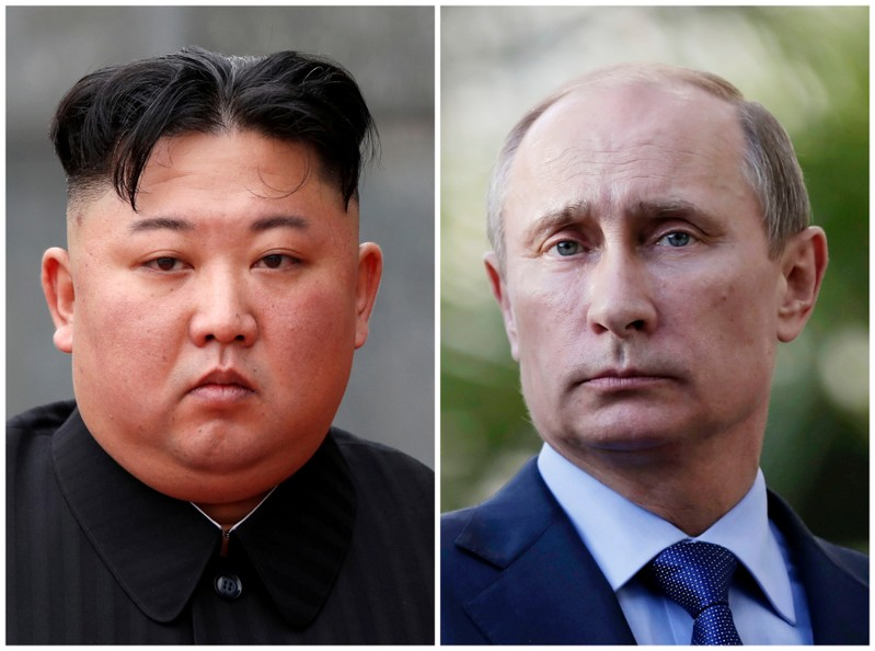 FILE PHOTO: A combination of file photos North Korean leader Kim Jong Un and Russia's President Vladimir Putin