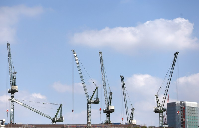 Cranes line the London skyline on construction sites in London