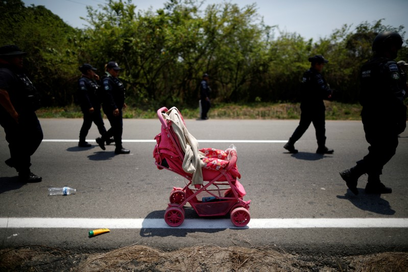 FILE PHOTO: A stroller abandoned by Central American migrants is seen after an immigration raid in their journey towards the United States, in Pijijiapan