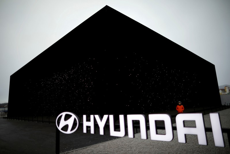FILE PHOTO: A Hyundai Motor's booth is seen near the Pyeongchang Olympic Plaza in Pyeongchang