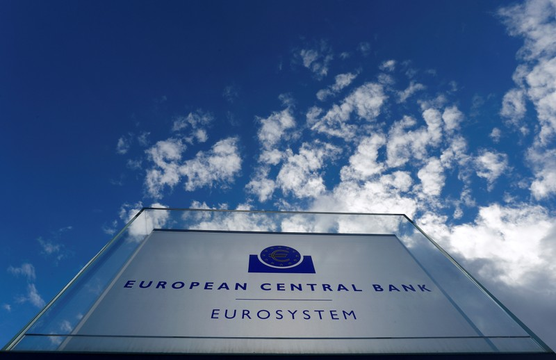FILE PHOTO: Sign of the European central Bank (ECB) is seen ahead of the news conference on the outcome of the Governing Council meeting, outside the ECB headquarters in Frankfurt