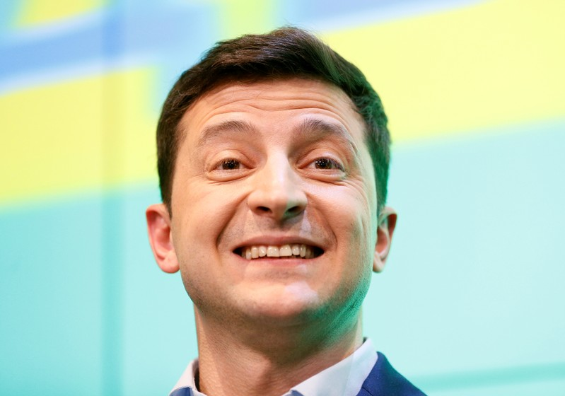 FILE PHOTO: Ukrainian presidential candidate Zelenskiy reacts during a news conference in Kiev
