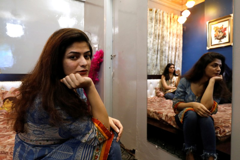 Shahzadi Rai, 29, a transgender woman and activist, poses during an interview with Reuters in Karachi
