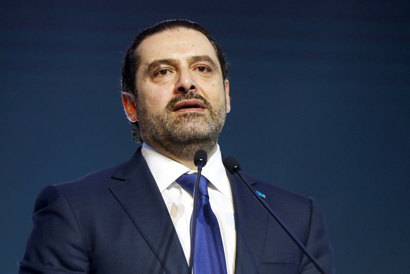FILE PHOTO: Lebanon's Prime Minister Saad al-Hariri addresses his supporters during a commemoration ceremony marking the 13th anniversary of the assassination of his father, former Lebanese prime minister Rafik al-Hariri, in Beirut