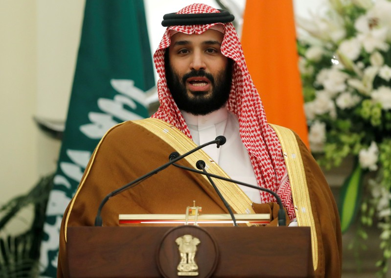 FILE PHOTO: Saudi Arabia's Crown Prince Mohammed bin Salman speaks during a meeting with Indian Prime Minister Narendra Modi at Hyderabad House in New Delhi