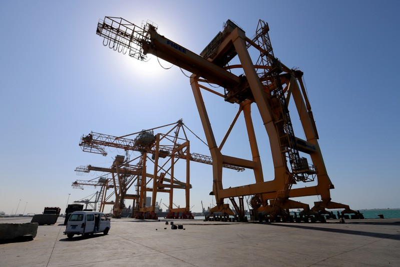 FILE PHOTO: View of cranes at the container terminal at the Red Sea port of Hodeidah