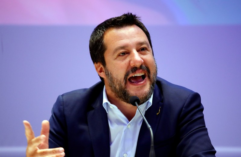 FILE PHOTO: Matteo Salvini, Italy's Deputy Prime Minister and leader of the far-right League Party, speaks as he launches campaigning for the European elections