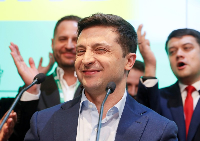 FILE PHOTO: Candidate Zelenskiy reacts following the announcement of an exit poll in Ukraine's presidential election in Kiev