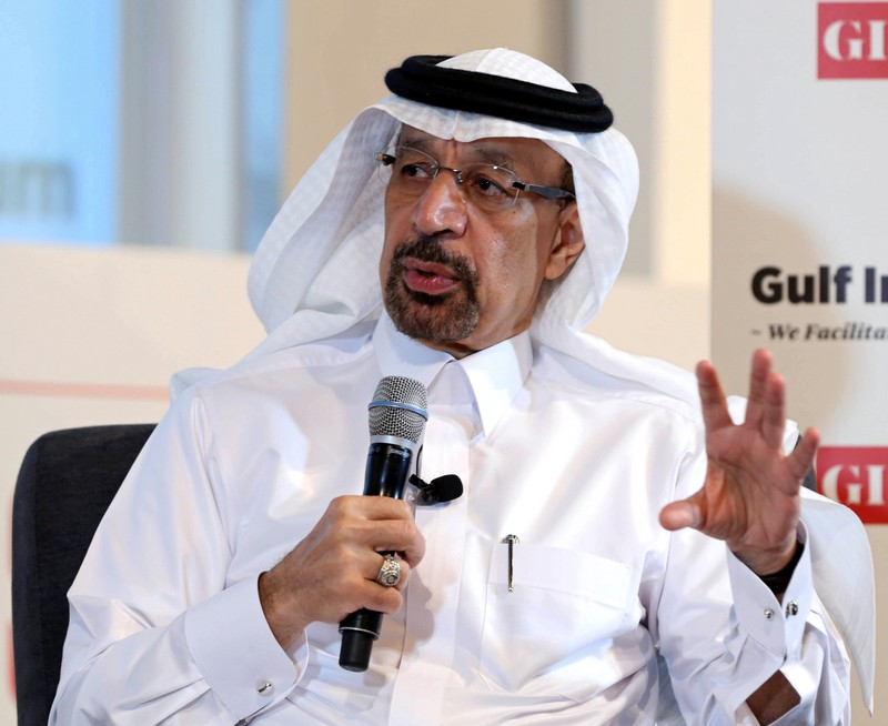 FILE PHOTO: Saudi Energy Minister Khalid al-Falih speaks during the Gulf Intelligence Saudi Arabia Energy Forum in Riyadh