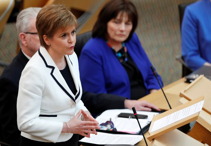 Scotland's First Minister Nicola Sturgeon speaks in the Scottish Parliament during continued Brexit uncertainty in Edinburgh
