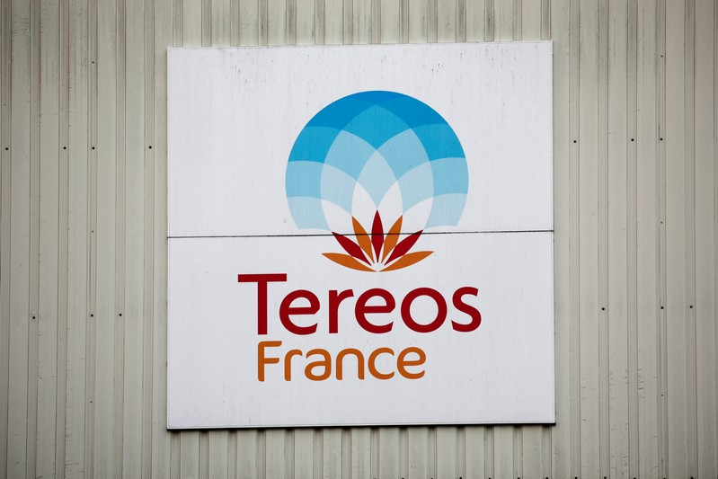 FILE PHOTO: The Tereos logo is displayed at a sugar beet processing plant in Chevrieres