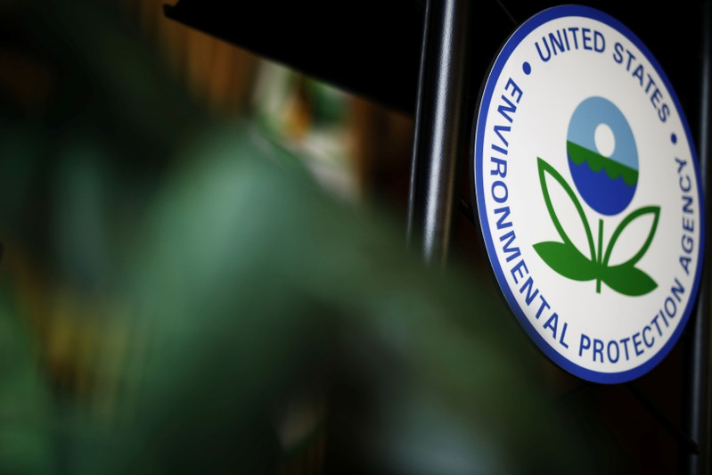 FILE PHOTO: The U.S. Environmental Protection Agency (EPA) sign is seen on the podium at EPA headquarters in Washington