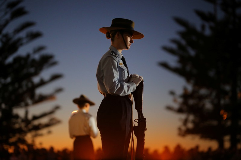 A member of the 324 Squadron during the ANZAC Day Dawn Service at Coogee Beach in Sydney
