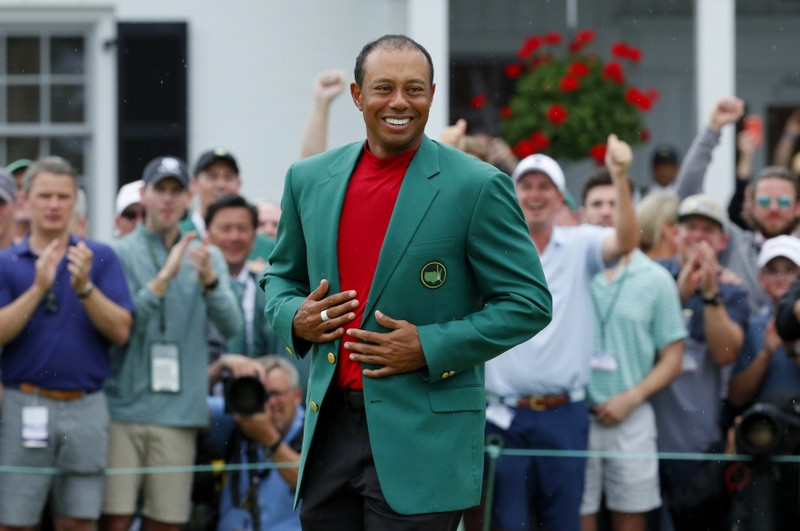 FILE PHOTO: Tiger woods celebrates after winning the 2019 Masters