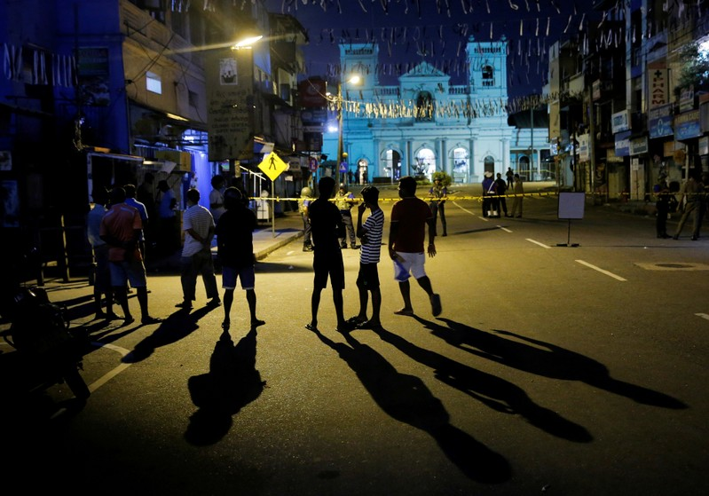 Security forces stand guard at St. Antony shrine, days after a string of suicide bomb attacks on churches and luxury hotels across the island on Easter Sunday, in Colombo