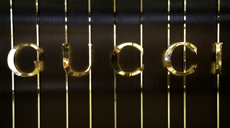 FILE PHOTO: Gucci logo is seen in a store at Fiumicino airport in Rome