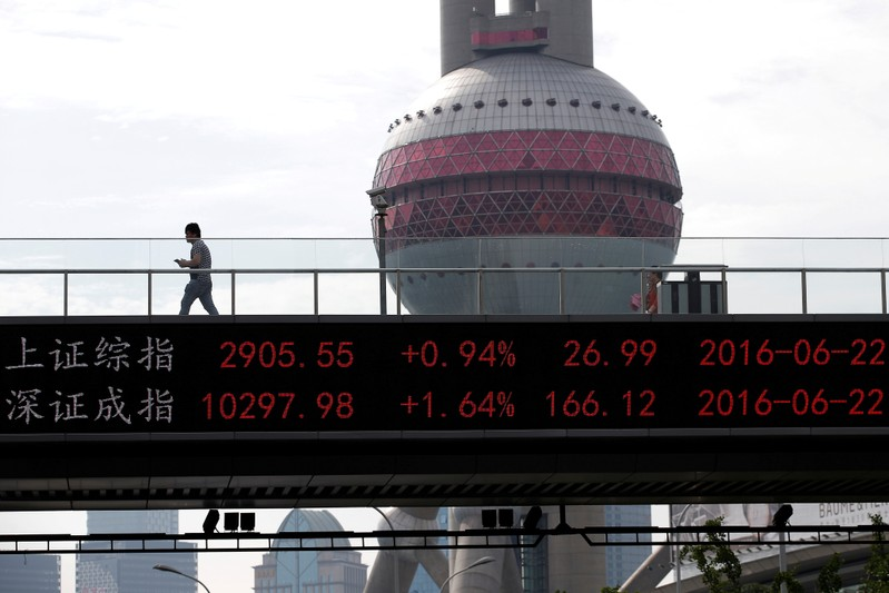 FILE PHOTO: A man walks past electronic board showing benchmark Shanghai and Shenzhen stock indices, on pedestrian overpass at Pudong financial district in ShanghaI