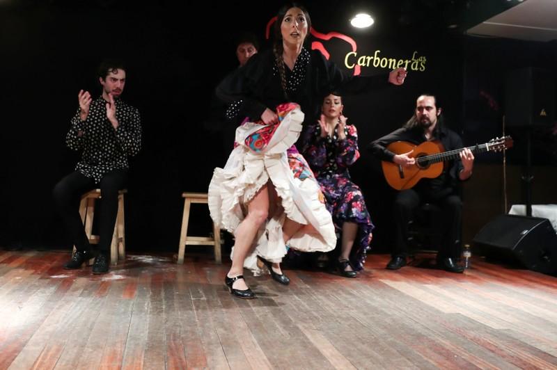 Flamenco dancer Collado performs at Las Carboneras flamenco venue in Madrid