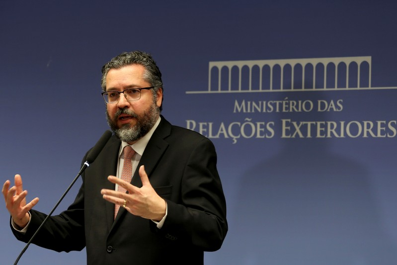 Brazil's Foreign Minister Ernesto Araujo attends a news conference at the Itamaraty Palace in Brasilia