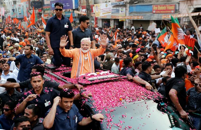 India's Prime Minister Narendra Modi holds a roadshow in Varanasi