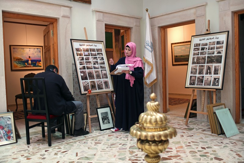 Libyan artists work at the art gallery and cultural centre in the old city of Tripoli
