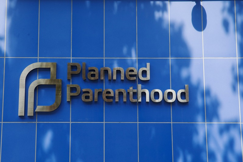 FILE PHOTO: A sign is pictured at the entrance to a Planned Parenthood building in New York